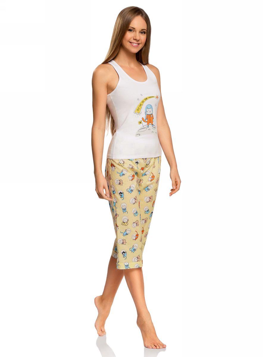 Пижама женская oodji Ultra, цвет: белый. 56001076-2/43112/1050P. Размер XS (42)56001076-2/43112/1050PЖенская пижама от oodji, состоящая из майки и бридж, выполнена из натурального хлопка. Майка спереди оформлена принтом, бриджи стандартной посадки – из принтованной ткани.
