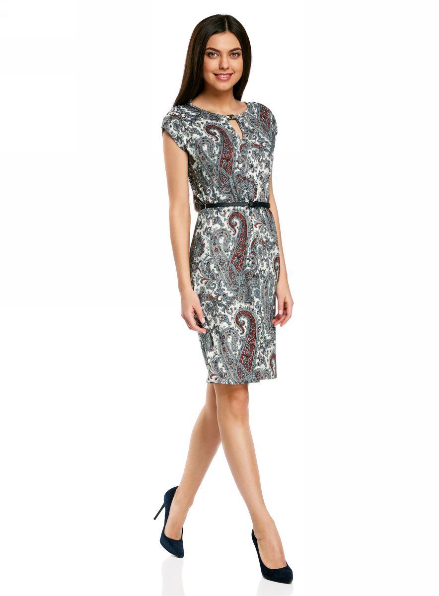 Платье oodji Collection, цвет: белый, серый, красный. 24008033-2/16300/1259E. Размер L (48-170) платье oodji collection цвет голубой белый горох 24001082 2 47420 7010d размер l 48