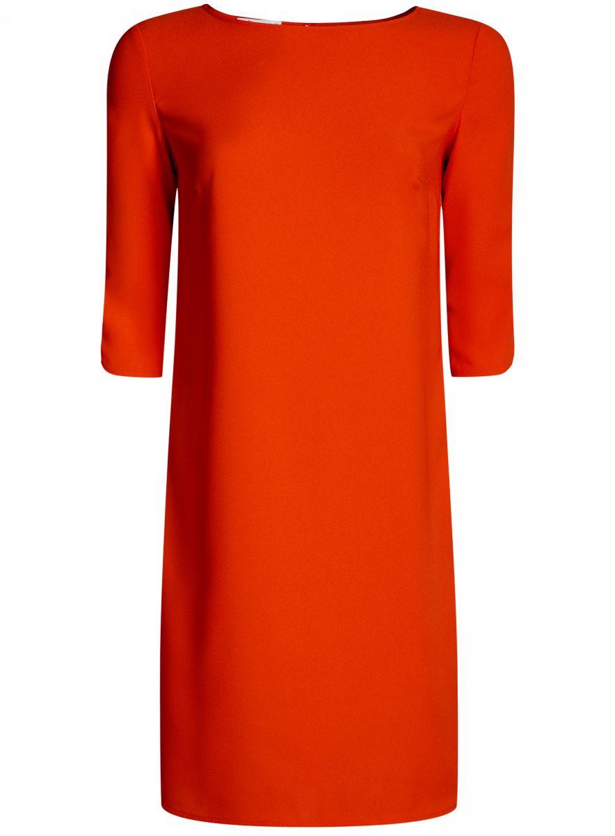 Платье oodji Collection, цвет: красный. 21900322B/42913/4500N. Размер 40-170 (46-170)21900322B/42913/4500NЛаконичное платье oodji Collection прямого силуэта выполнено из качественной ткани. Модельсредней длины с вырезом лодочкой и рукавами 3/4 оформлена вырезом-капелькой на спине.