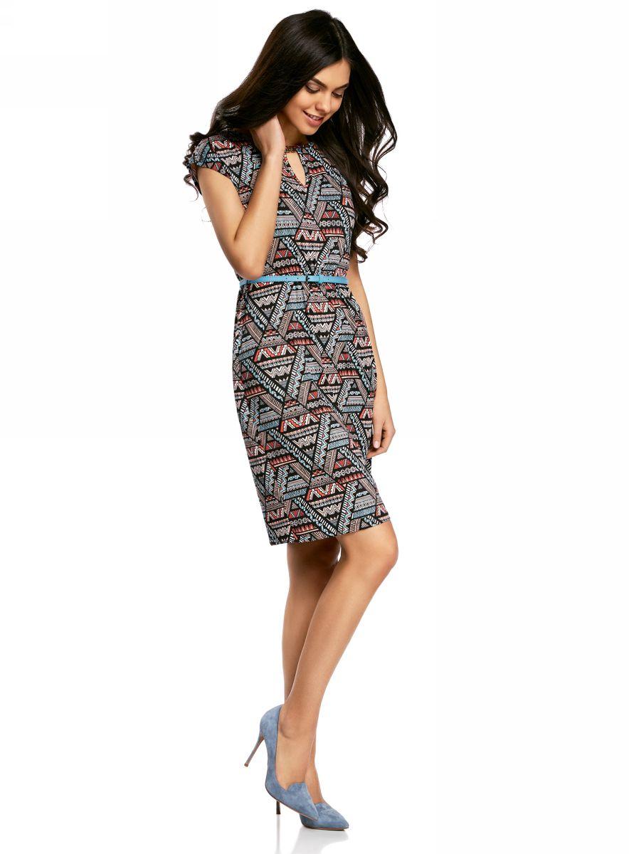 Купить Платье oodji Collection, цвет: темно-синий, оранжевый. 24008033-2/16300/7029G. Размер XS (42-170)