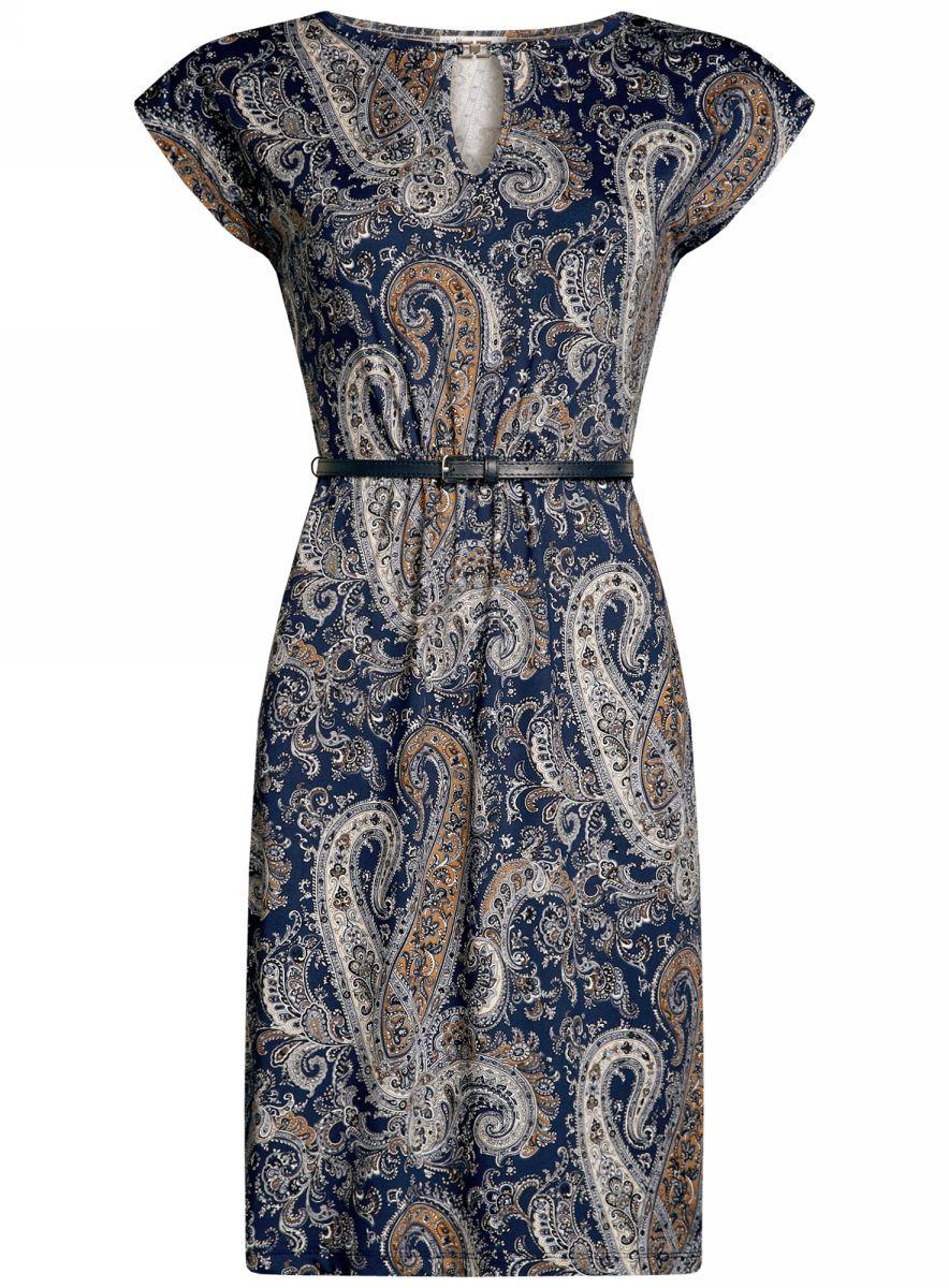 Платье oodji Collection, цвет: темно-синий, серый. 24008033-2/16300/7933E. Размер S (44-170)24008033-2/16300/7933EПлатье oodji Collection, выгодно подчеркивающее достоинства фигуры, выполнено из качественного трикотажа с оригинальным узором. Модель средней длины с круглым вырезом горловины и короткимирукавами оформлена вырезом-капелькой с декоративным элементом на груди.В комплект с платьемвходит узкий ремень из искусственной кожи с металлической пряжкой.