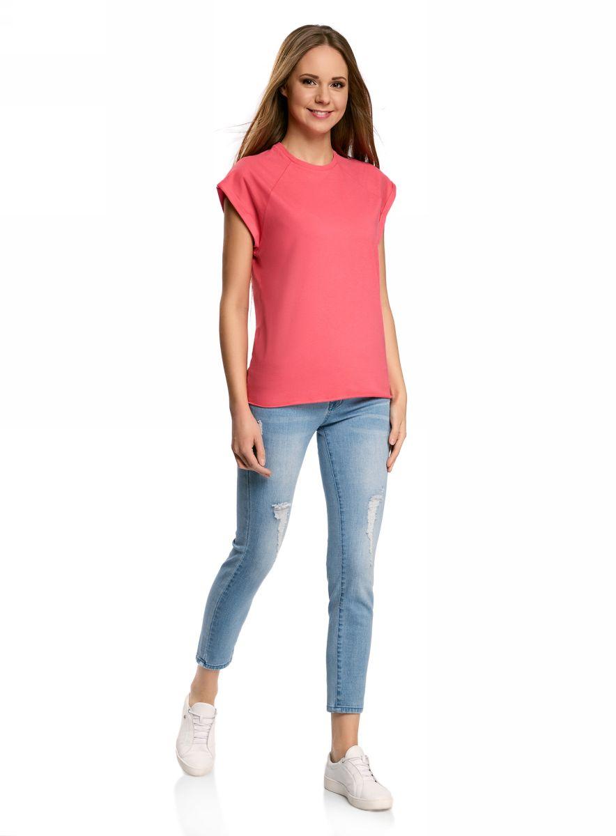 Футболка женская oodji Ultra, цвет: розовый. 14707001B/46154/4D02N. Размер M (46)14707001B/46154/4D02NБазовая футболка свободного кроя с круглым вырезом горловины и короткими рукавами-реглан выполнена из натурального хлопка.