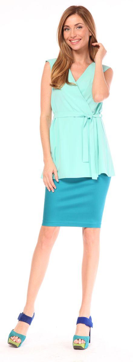 Юбка Pettli Collection, цвет: бирюзовый. 20416. Размер 4220416Стильная юбка-карандаш Pettli Collection изготовлена из хлопка с добавлением полиамида. Модель длины миди застегивается на молнию. Такая юбка отлично дополнит любой ваш образ.