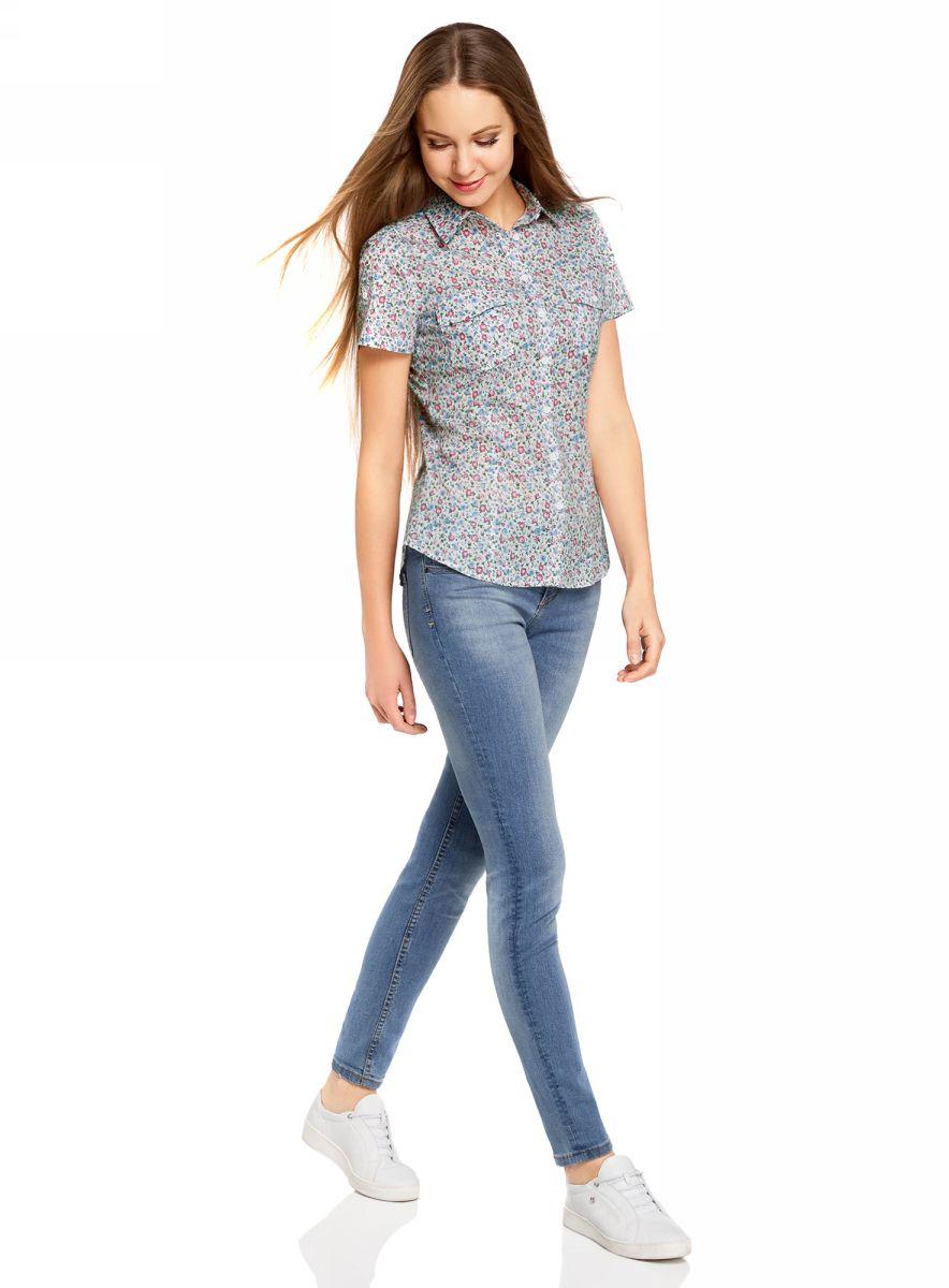 Рубашка женская oodji Ultra, цвет: белый, розовый. 11402084-3B/12836/1241F. Размер 44-170 (50-170) рубашка женская oodji ultra цвет белый розовый 11402084 3b 12836 1241f размер 44 170 50 170