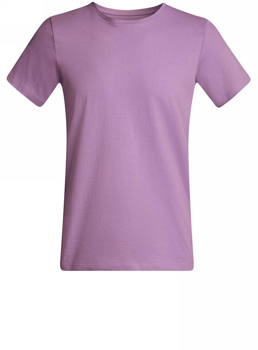 Футболка мужская oodji Basic, цвет: фиолетовый. 5B611003M/44135N/8000N. Размер L (52/54)5B611003M/44135N/8000NКомфортная мужская футболка от oodji с короткими рукавами и круглым вырезом горловины выполнена из натурального хлопка.