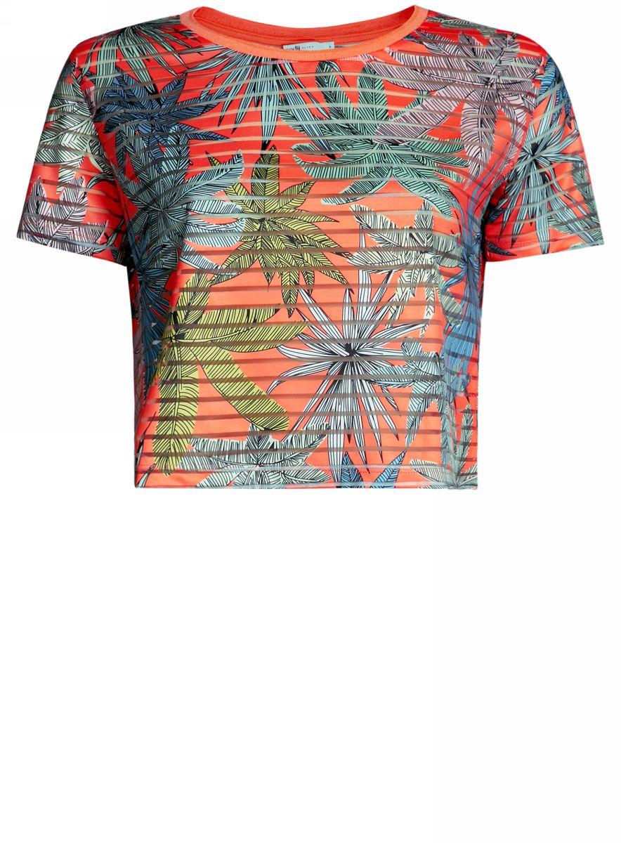 Футболка женская oodji Ultra, цвет: оранжевый. 15F01002/33520/5567F. Размер S (44)15F01002/33520/5567FМодная футболка укороченного силуэта с короткими рукавами и круглым вырезом горловины выполнена из ткани в рубчик.