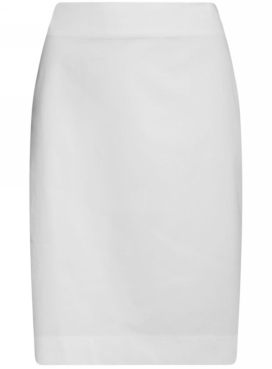 Юбка oodji Collection, цвет: белый. 21608006-4B/42307/1000N. Размер 44-170 (50-170)21608006-4B/42307/1000NСтильная юбка-карандаш выполнена из эластичного хлопка. Сзади модель застегивается на потайную застежку-молнию и дополнена разрезом.