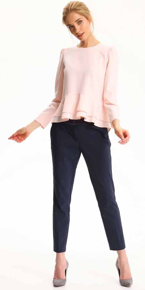 Блузка женская Top Secret, цвет: светло-розовый. SBD0695JR. Размер 36 (44)SBD0695JRБлузка женская Top Secret выполнена из полиэстера. Модель с круглым вырезом горловины и длинными рукавами.