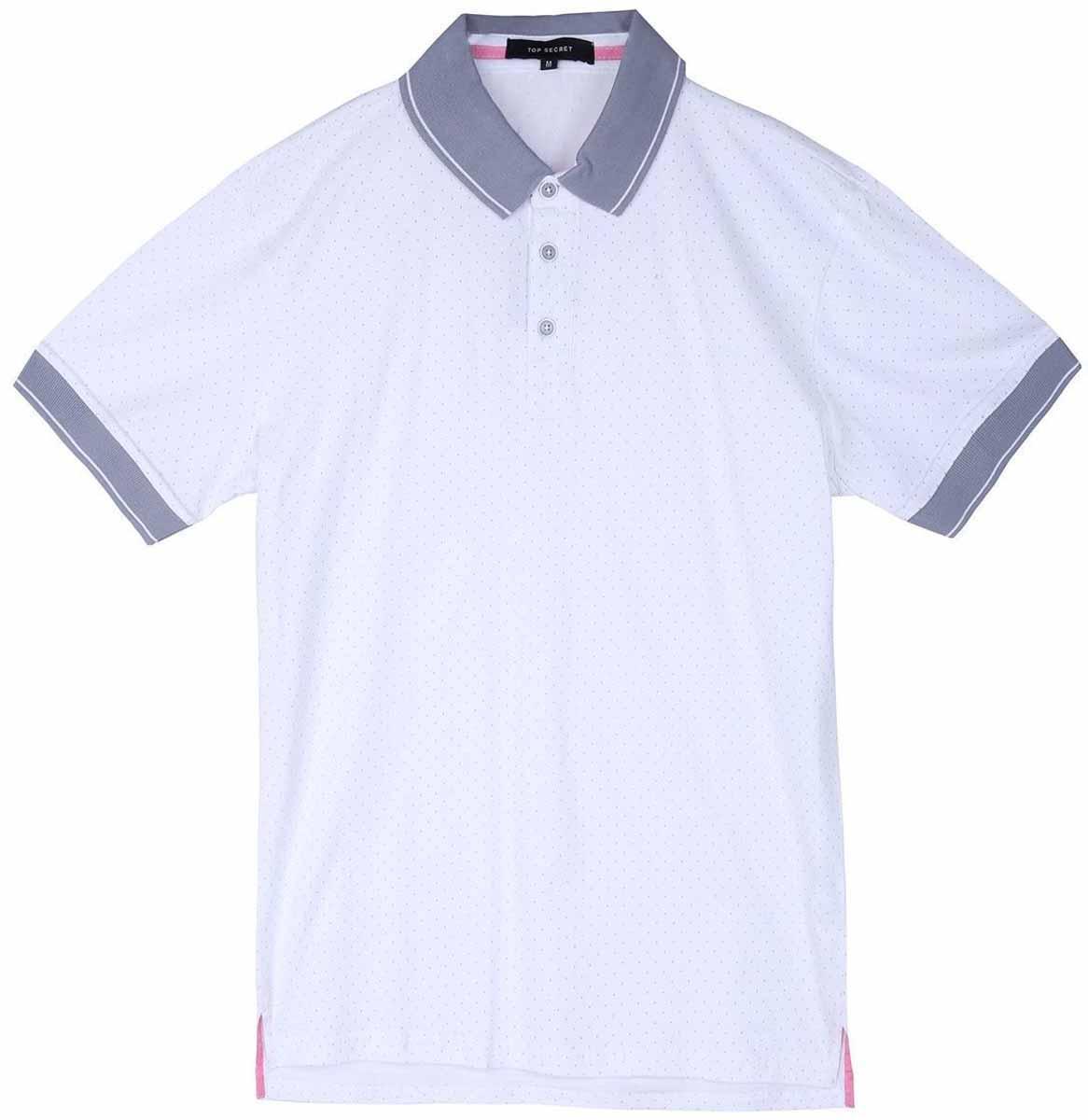 Поло мужское Top Secret, цвет: белый. SKP0392BI. Размер M (48)SKP0392BIМужская футболка-поло Top Secret поможет создать отличный современный образ в стиле Casual. Модель изготовлена из хлопка. Футболка-поло с отложным воротником и короткими рукавами застегивается сверху на три пуговицы. Такая футболка станет стильным дополнением к вашему гардеробу, она подарит вам комфорт в течение всего дня!