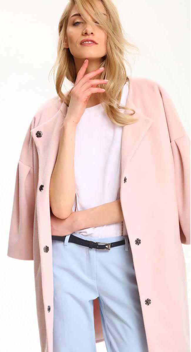 Пальто женское Top Secret, цвет: светло-розовый. SPZ0389JR. Размер 36/38 (44/46)SPZ0389JRЖенское пальто Top Secret выполнено из полиэстера. Модель с круглым вырезом горловины застегивается кнопки.