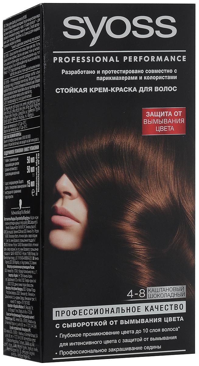 Крем-краска Syoss Color 4-8. Каштановый шоколадный1363383Стойкая крем-краска Syoss Color для волос с флаконом-аппликатором. Syoss Color - стойкая краска для волос профессионального качества, разработанная и протестированная совместнос парикмахерами-стилистами и колористами специально для домашнего использования. Высокоэффективная формула закрепляет интенсивные цветовые пигменты глубоко внутри волоса, обеспечивая насыщенный, точный результат окрашивания и блеск волос, а также превосходное закрашивание седины.Комплекс Nutri-Care с провитамином В5 и пшеничным протеином способствует восстановлению волос и защищает их поверхность - для здоровых, сильных и блестящих волос. Профессиональное качество окрашивания с профессиональным миксом интенсивныхцветовых пигментов: Насыщенный цвет и блеск; Точный результат окрашивания; Превосходное закрашивание седины; Здоровые, сияющие волосы. Характеристики:Номер краски: 4-8.Цвет: каштановый шоколадный.Степень стойкости: 3 (обеспечивает стойкое окрашивание).Объем окрашивающего крема: 50 мл.Объем проявляющегося молочка: 50 мл.Объем кондиционера: 15 мл.Производитель: Германия. В комплекте: 1 тюбик с окрашивающим кремом, 1 флакон-аппликатор с проявляющим молочком, 1 саше с кондиционером, 1 пара перчаток, инструкция по применению. Товар сертифицирован.ВНИМАНИЕ! Продукт может вызвать аллергическую реакцию, которая в редких случаях может нанести серьезный вред вашему здоровью. Проконсультируйтесь с врачом-специалистом передприменениемлюбых окрашивающих средств.