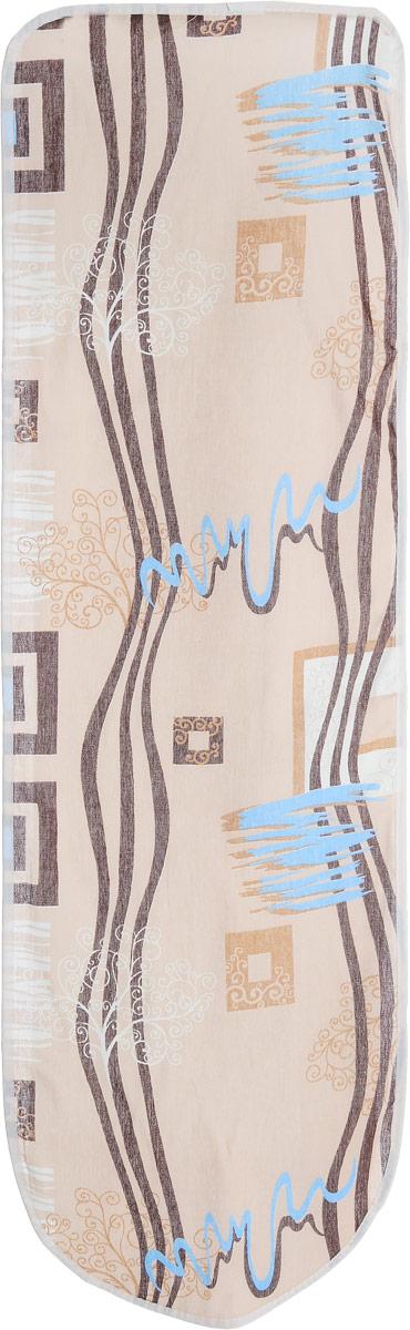 Чехол для гладильной доски Eva, цвет: бежевый, коричневый, синий, 120 х 38 смЕ13*_бежевый, коричневый, синийЧехол для гладильной доски Eva выполнен из хлопчатобумажной ткани и оснащен подкладкой из пенополиуретана. Изделие предназначено для защиты или замены изношенного покрытия гладильной доски. Благодаря удобной системе фиксации, легко крепится. Этот качественный чехол обеспечит вам легкое глажение. Размер чехла: 120 x 38 см. Максимальный размер доски: 112 x 32 см.