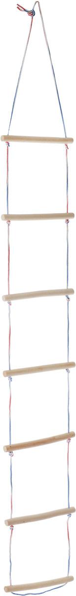 """Подвесная лестница Фея """"Залезай-ка!"""" - это прекрасное дополнение к турнику, шведской стенке. Лестница предназначена для организации досуга ребенка в возрасте от трех лет.Прекрасно развивает вестибулярный аппарат, тренирует все группы мышц ребенка, при этом создает необъятный простор для детской фантазии.Ступени изготовлены из высококачественной древесины, шлифованные, диаметром 25 мм, шириной 300 мм, с шагом 300 мм, диаметр шнура - 5 мм.Не допускайте перегрузки лестницы свыше 40 кг."""