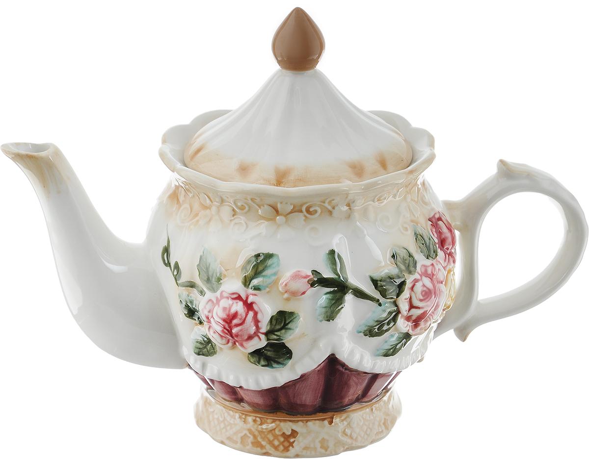 Чайник заварочный Loraine Розы, 900 мл22435Заварочный чайник Loraine Розы изготовлен из высококачественной керамики. Внешние стенки оформлены красочным изображением роз. Чайник поможет заварить крепкий ароматный чай и изысканно украсит стол к чаепитию. Не использовать в микроволновой печи и посудомоечной машине. Диаметр чайника (по верхнему краю): 8 см. Высота чайника (без учета крышки): 11 см.