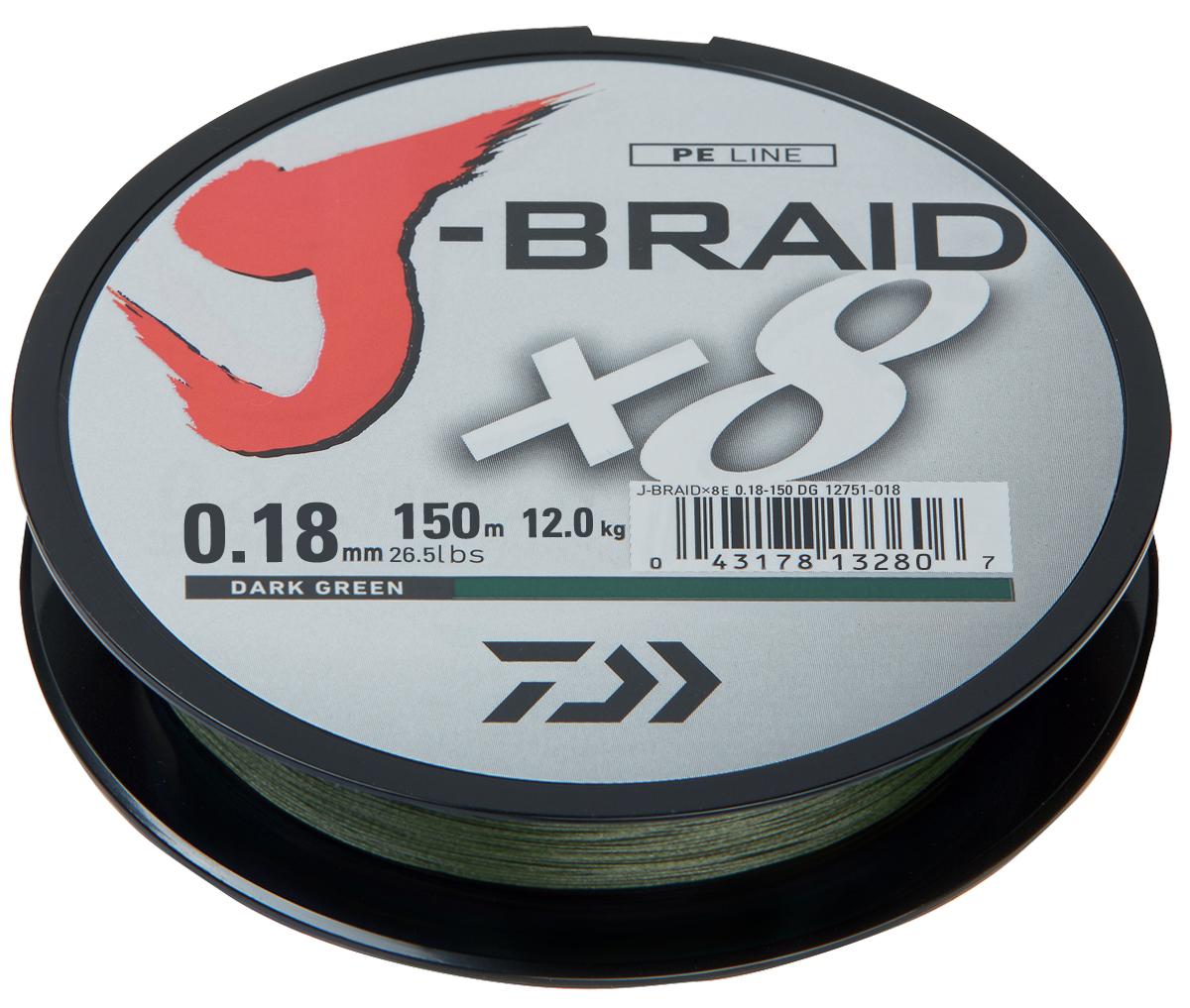 Шнур плетеный Daiwa J-Braid X8, цвет: зеленый, 150 м, 0,18 мм