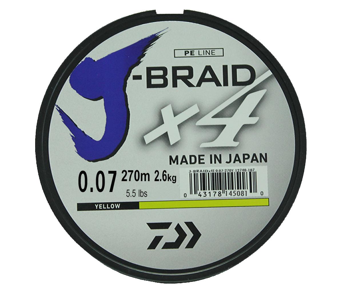Шнур плетеный Daiwa J-Braid X4, цвет: флуоресцентный желтый, 270 м, 0,07 мм61145Новый четырехжильный шнур J-Braid от Daiwa - шнур высокого класса с удивительным соотношением цены и качества. Качество плетения полностью соответствует японским стандартам и удовлетворяет всем требованиям. Представленные диаметры позволяют использовать шнур для всех техник ловли, начиная от Ultra-Light ловли окуня, до морской ловли палтуса, трески и так далее.