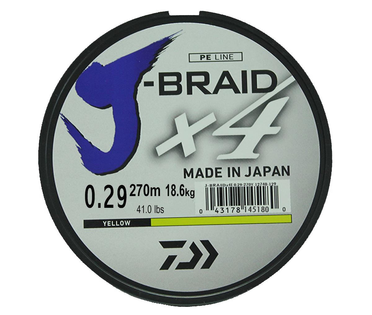 Шнур плетеный Daiwa J-Braid X4, цвет: флуоресцентный желтый, 270 м, 0,29 мм61154Новый четырехжильный шнур J-Braid от Daiwa - шнур высокого класса с удивительным соотношением цены и качества. Качество плетения полностью соответствует японским стандартам и удовлетворяет всем требованиям. Представленные диаметры позволяют использовать шнур для всех техник ловли, начиная от Ultra-Light ловли окуня, до морской ловли палтуса, трески и так далее.