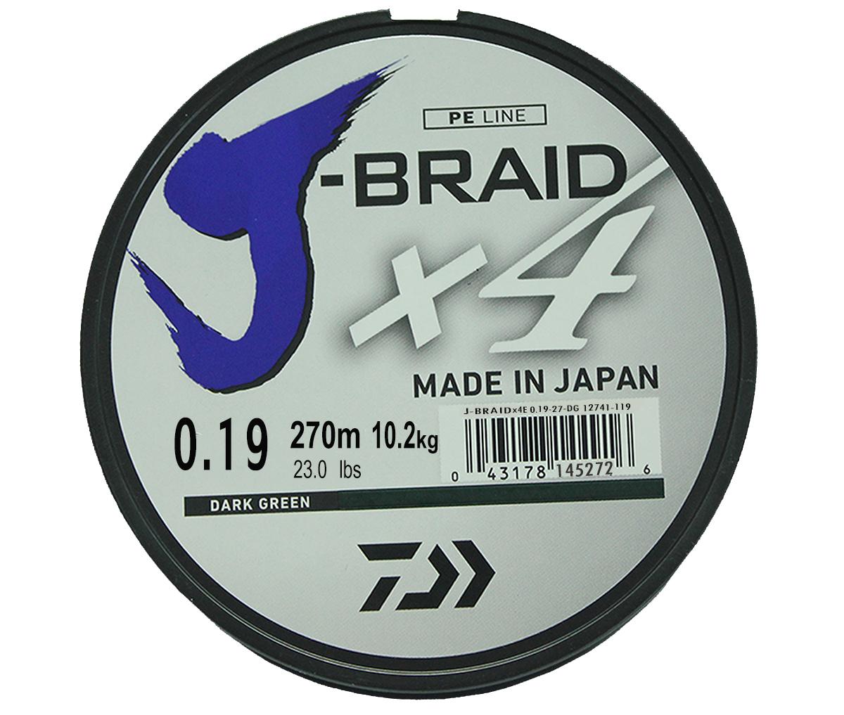 """Шнур плетеный Daiwa """"J-Braid X4"""", цвет: зеленый, 270 м, 0,19 мм"""