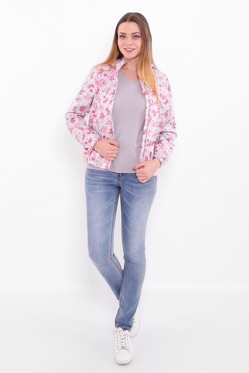 Куртка женская Finn Flare, цвет: светло-серый. B17-11013. Размер XL (50)B17-11013Куртка женская Finn Flare выполнена из полиэстера. Модель с капюшоном застегивается на застежку-молнию и оформлена оригинальным принтом.