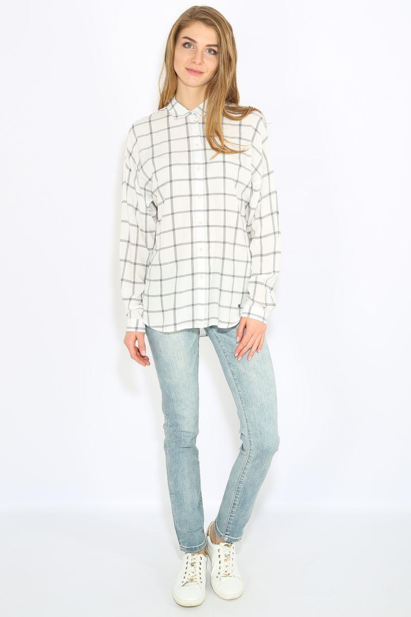 Блузка женская Finn Flare, цвет: белый. B17-11058. Размер L (48) блузка женская finn flare цвет лиловый синий бежевый s16 14085 814 размер m l 46 48