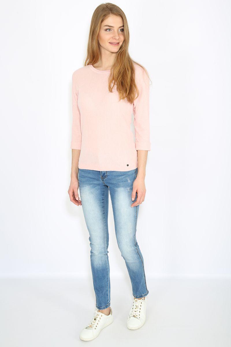 Джемпер женский Finn Flare, цвет: розовый. B17-11115. Размер M (46)B17-11115Джемпер женский Finn Flare выполнен из натурального хлопка. Модель с круглым вырезом горловины и длинными рукавами.