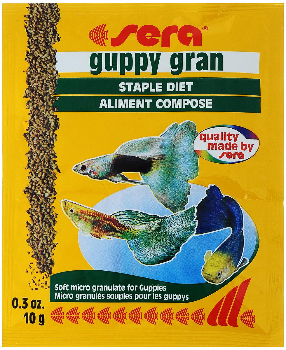 Корм для рыб Sera Guppy Gran, 10 г0712Специальный корм Sera Guppy Gran с ценными растительными компонентами предназначен для гуппи и других мелких рыб. Тщательно подобранные ингредиенты корма с пребиотическим действием способствуют оптимальному развитию, устойчивости к заболеваниям и яркой окраске. Ингредиенты: кукурузный крахмал, пшеничная клейковина, рыбная мука, рыбий жир, измельченная спирулина, пивные дрожи, мука из зародышей пшеницы, травы, мука люцерны, мука из крапивы, мука из гаммаруса, мука из морских водорослей, петрушка, паприка, мука из шпината, морковь, мука из мидий, чеснок.Витамины:вит.А-38200МЕ/кг, вит.D3-2000МЕ/кг, вит.Е-120МЕ/кг, вит.В-130мг/кг, вит.В-290мг/кг, вит.С-550мг/кг.Состав: протеин 34,2%, сырой жир 6,6%, сырая клетчатка 4,4%, влажность 6,7%, зола 5,0%.Товар сертифицирован.Уважаемые клиенты!Обращаем ваше внимание на возможные изменения в дизайне упаковки. Качественные характеристики товара остаются неизменными. Поставка осуществляется в зависимости от наличия на складе.