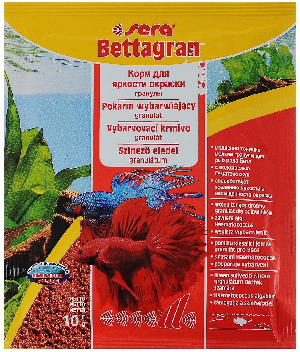 Корм для рыб Sera Bettagran, 10 г0103Корм Sera Bettagran предназначен для усиления яркости окраски рыб рода Betta, а также всех видов рыб, кормящихся в средних слоях воды. Высококачественные ингредиенты корма, такие как водоросль Гематококкус, усиливают яркость и насыщенность окраски рыб естественным путем. Медленно тонущие гранулы, надолго сохраняют свою форму в воде, не загрязняя ее.Товар сертифицирован.