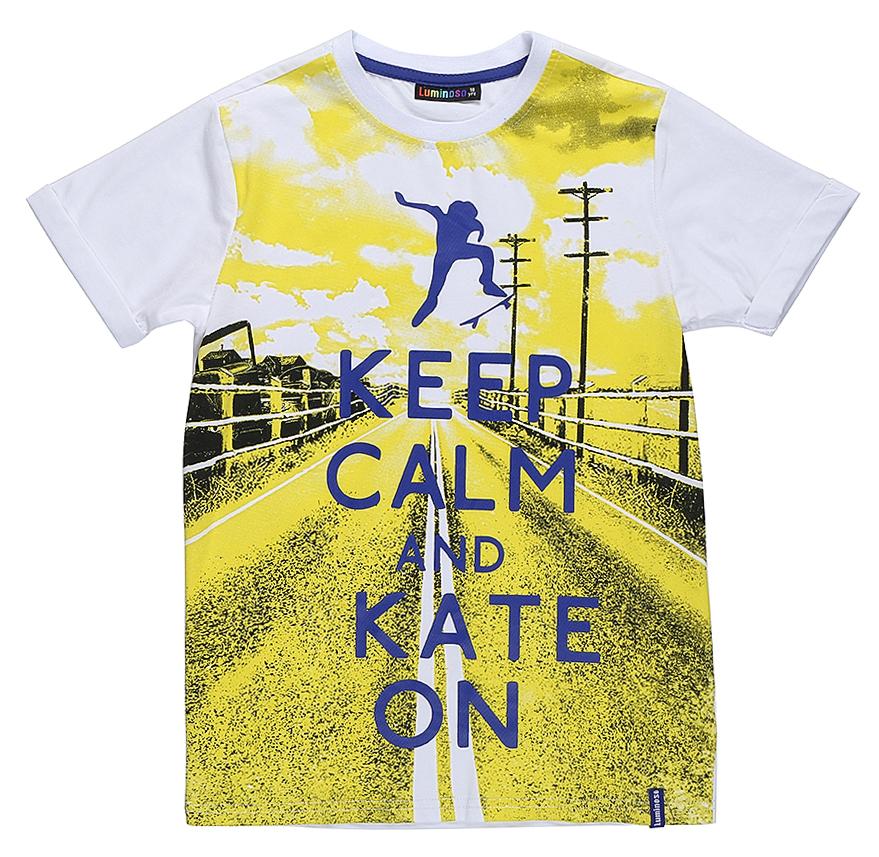 Футболка для мальчика Luminoso, цвет: белый. 717037. Размер 146717037Стильная футболка из трикотажной ткани с коротким рукавом. Декорирована ярким принтом.