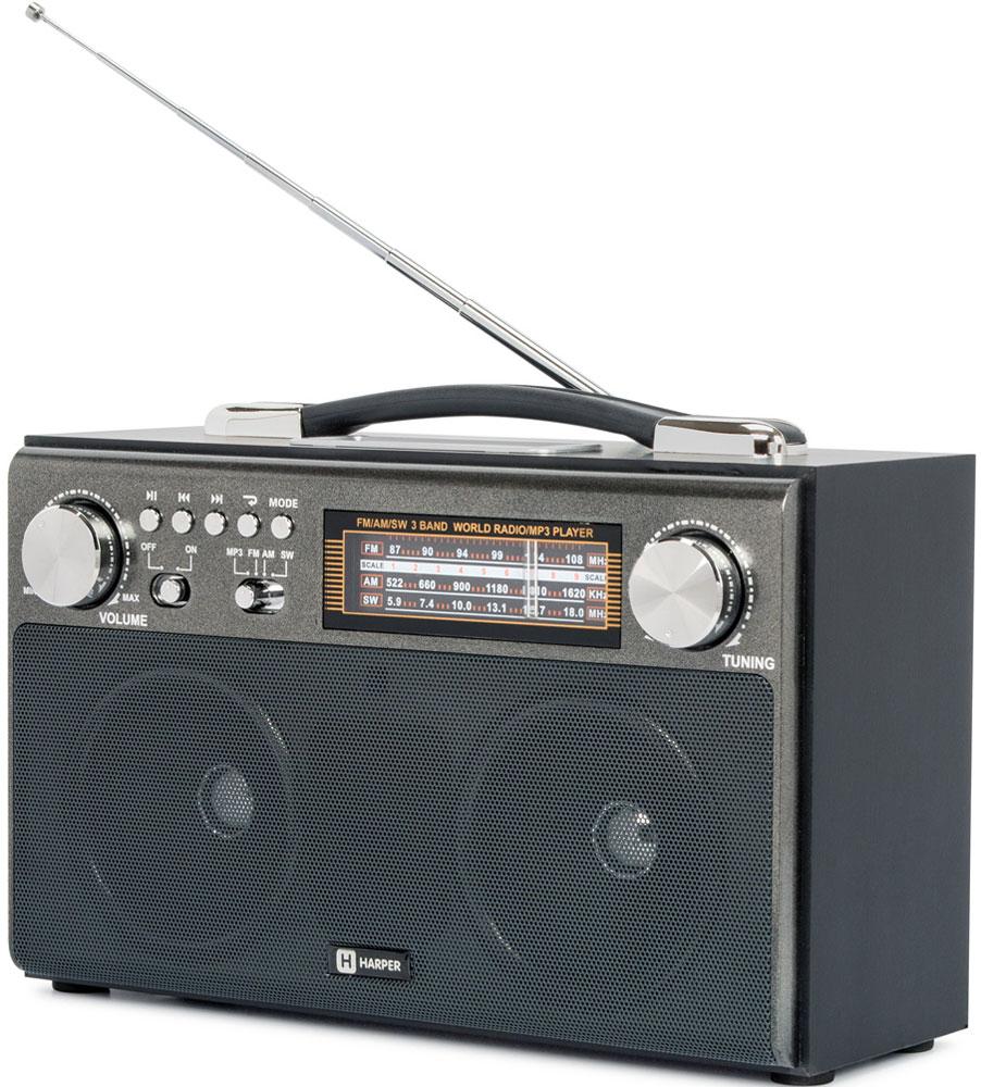 Harper HDRS-033, Black радиоприемникH00001250Радиоприемник Harper HDRS-033 обеспечивает уверенный прием радиоканалов сразу в трех диапазонах вещания: FM (ультракорткие волны - 88-108 МГц), SW (короткие волны - 5,9-18 МГц) и AM (средние волны в диапазоне 522-1620 КГц). Вместе с тем, Harper HDRS-033 поддерживает обработку радиосигналов с помощью цифровой технологии DSP (за это отвечает микросхема SILICON LABS SI4836).В любой момент радиоприемник может превратиться в mp3-плеер благодаря поддержке таких карт памяти, как MicroSD (TF), SD (MMC) и даже накопителей с интерфейсом подключения USB.Переключение режима работы происходит автоматически. Достаточно установить карту в соответствующий слот.Harper HDRS-033 оснащен встроенным аккумулятором на 1400 мАч, и может работать как от сети переменного тока 220 В, так и от батарей типа D (R20).Для удобной переноски в верхней части устройства имеется специальная ручка.
