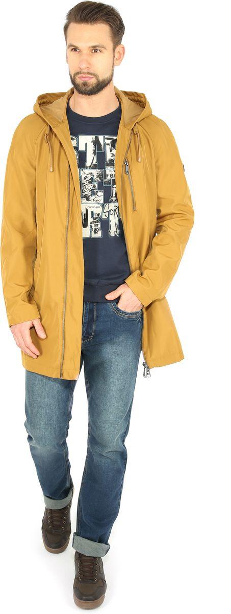 Куртка мужская Finn Flare, цвет: горчичный. B17-42000. Размер M (48)B17-42000Куртка мужская Finn Flare выполнена из полиэстера. Модель с капюшоном застегивается на застежку-молнию.