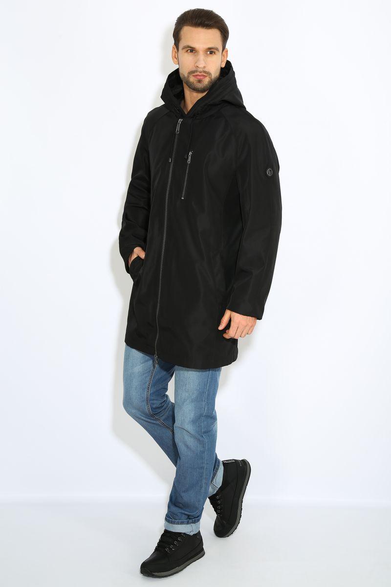 Куртка мужская Finn Flare, цвет: черный. B17-42000. Размер L (50)B17-42000Куртка мужская Finn Flare выполнена из полиэстера. Модель с капюшоном застегивается на застежку-молнию.