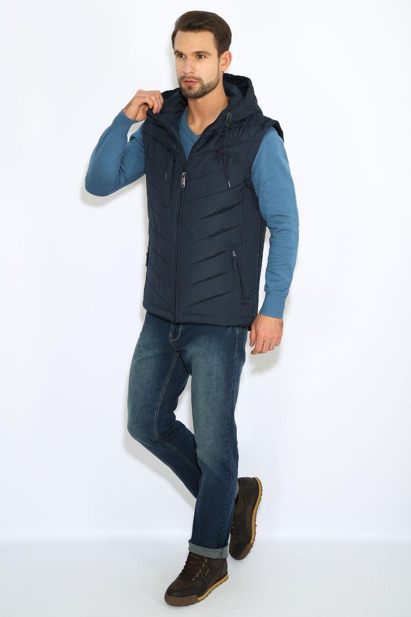 Жилет мужской Finn Flare, цвет: темно-синий. B17-42010. Размер S (46)