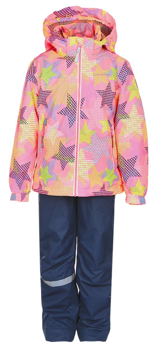 Комплект для девочки Icepeak: куртка, полукомбинезон, цвет: розовый, синий. 752000IVT_887. Размер 98752000IVT_887Комплект верхней детской одежды Icepeak состоит из куртки и полукомбинезона. Куртка с капюшоном застегивается на пластиковую молнию. На рукавах предусмотрены манжеты. Спереди расположены два врезных кармана на молниях. Оформлено изделие оригинальным принтом. Брюки спереди застегиваются на пластиковую молнию и кнопку. Модель дополнена эластичными наплечными лямками, регулируемыми по длине. На талии предусмотрена широкая резинка. На комплекте предусмотрены светоотражающие элементы.