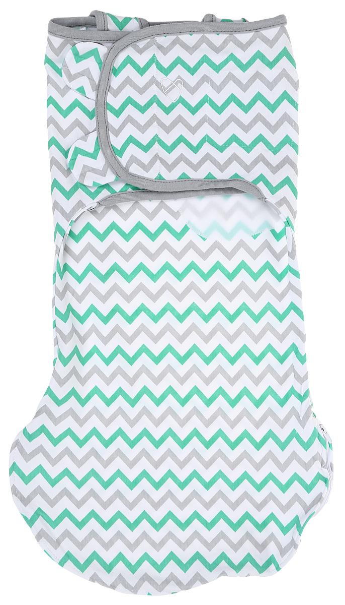 Конверт для новорожденного Summer Infant Wrap Sack, цвет: белый, светло-серый, зеленый. 54850_зигзаг. Размер S/M