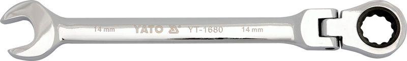 Ключ комбинированный Yato, с трещоткой и шарниром, 10 ммYT-1676Комбинированный трещоточный ключ Yato предназначен для работы с резьбовыми соединениями. Выполнен из инструментальной стали CrV. Двухсторонняя конструкция оснащена головкой ключа с одной стороны и трещоткой с шарниром - с другой.