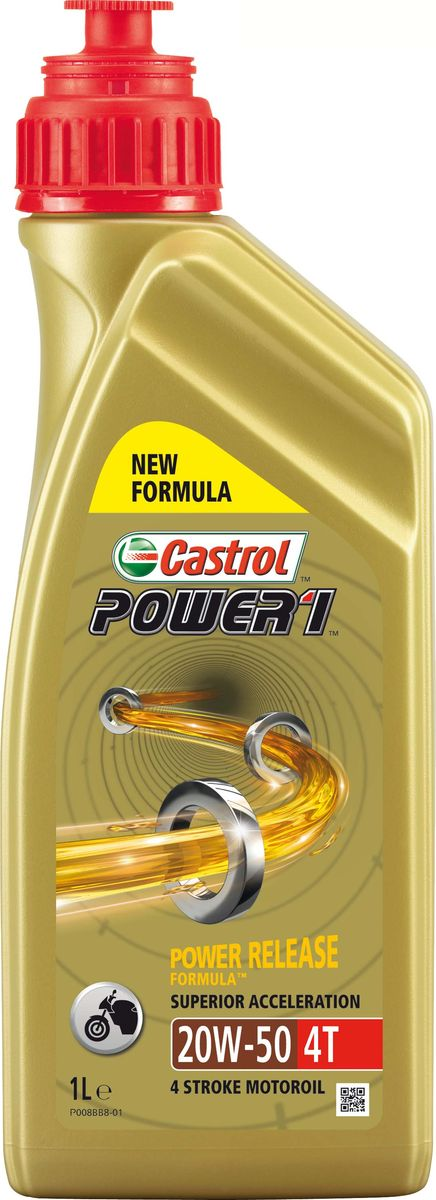 Масло моторное Castrol Power, минеральное, 1 4T 20W-50, 1 л15689ACastrol Power 1 4T 20W-50 - усовершенствованное моторное масло премиум-класса, разработанное для последнего поколения четырёхтактных мотоциклетных двигателей. Технология Power Release Formula способствует быстрой циркуляции масла в системе смазки и снижению внутренних потерь на трение, поддерживая максимальную и постоянную мощность двигателя вплоть до очень высоких оборотов. Испытаниями доказано, что Castrol Power 1 4T 20W-50 способствует исключительно быстрому разгону при открытии дроссельной заслонки. Применение разработки Castrol Trizone Technology™ обеспечивает бескомпромиссную защиту деталей мотора, сцепления и зубчатых передач. Применение. Моторные масла Castrol Power 1 4T разработано для обеспечения оптимального баланса между эффективностью работы двигателя и защитой его деталей. Подходит для всех видов 4-тактных мотоциклов как с карбюраторными двигателями, так и инжекторными, в которых предписаны смазочные материалы, соответствующие классификациям API SJ (или более ранним) и JASO MA или MA-2. Преимущества. - Испытаниями доказано превосходное ускорение в момент открытия дроссельной заслонки. - Технология Power Release Formula способствует быстрой циркуляции масла в системе смазки двигателя и снижению внутренних потерь на трение. - Разработка Trizone Technology™ защищает детали двигателя, сцепления и коробки передач. - Соответствует требованиям двигателей, оснащённых катализатором. Спецификации. API SJ; JASO MA-2; Товар сертифицирован.