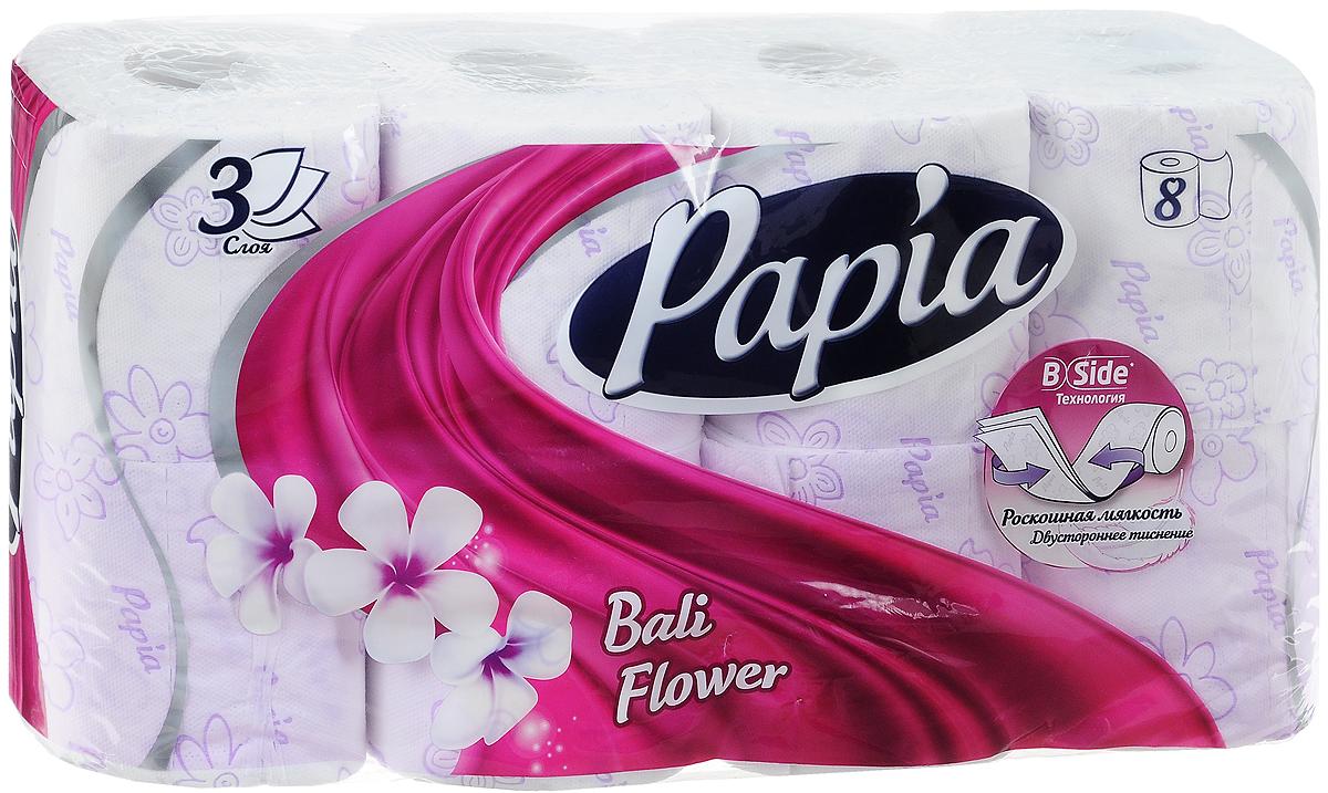 """Трехслойная туалетная бумага Papia """"Bali Flower"""" изготовлена из  целлюлозы  высшего качества. Листы оформлены тисненым рисунком в виде  цветов и надписи """"Papia"""". Мягкая, нежная, но в тоже время прочная, бумага не  расслаивается и отрывается строго по линии перфорации. Бумага  ароматизирована.Туалетная бумага Papia """"Bali Flower"""" предназначена для  тех, кто хочет,  чтобы ванная была самая уютная на свете, а нежный аромат балийского цветка  поднимет вам  настроение. Товар сертифицирован. Материал: 100% целлюлоза. Количество листов (в одном рулоне): 140 шт. Количество слоев: 3. Размер листа: 9,5 см х 12 см. Длина рулона: 16,8 м.   Уважаемые клиенты! Обращаем ваше внимание на возможные изменения в дизайне упаковки. Качественные характеристики товара  остаются неизменными. Поставка осуществляется в зависимости от наличия на складе."""