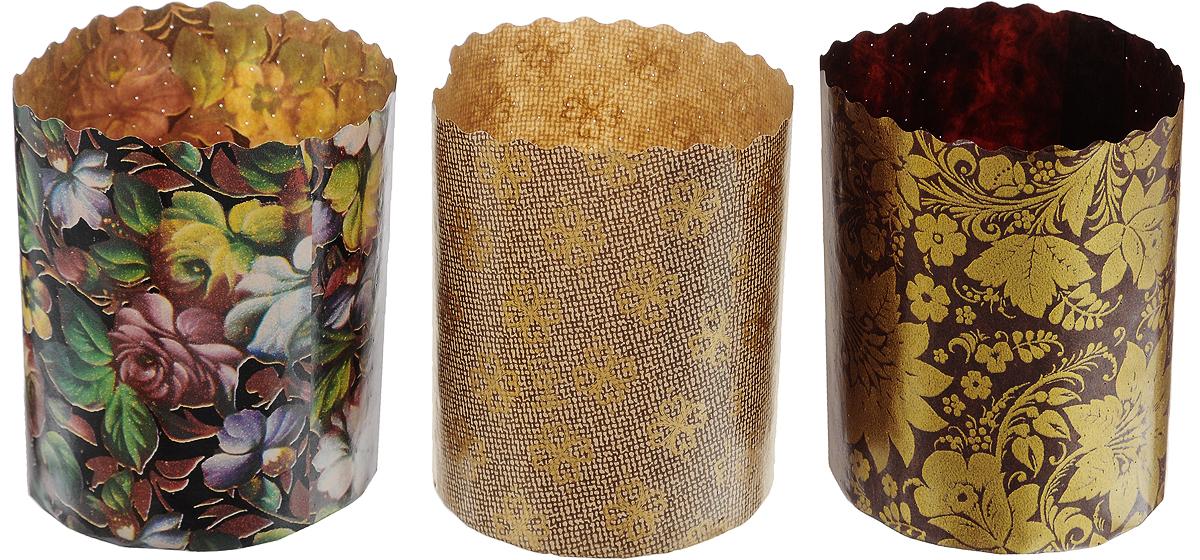 Формы Marmiton изготовлены из пищевого пергамента и используются для выпечки   куличей при температуре до 220°С, не требуют смазки. Изделия декорированы   яркими орнаментами. В наборе - 3 формы. Высота формы: 9 см.