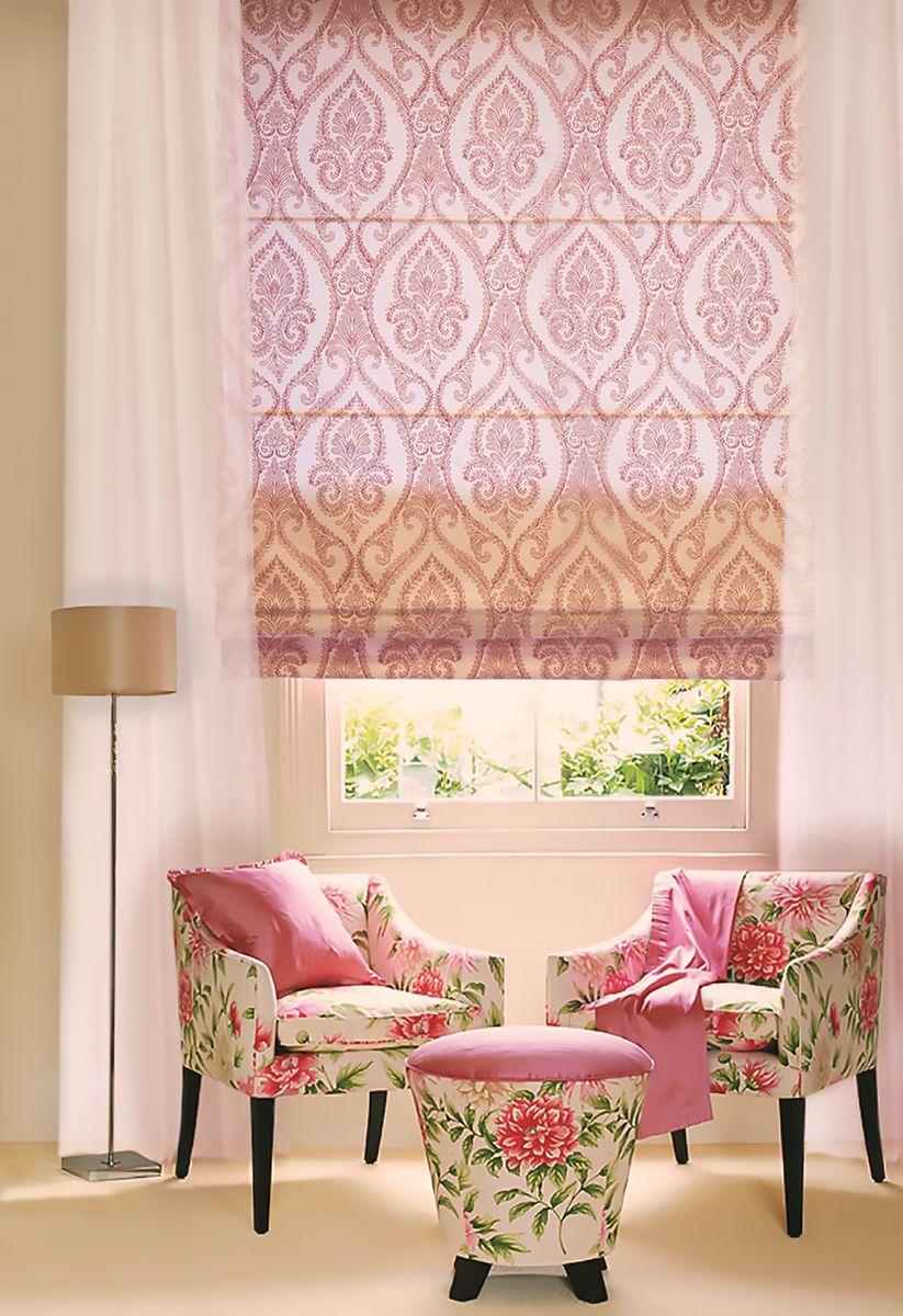 """Римская штора Эскар """"Дамаск"""", цвет: сангрия, ширина 80 см, высота 160 см"""