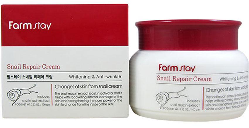 FarmStay Восстанавливающий крем с экстрактом улитки, 100 мл7284613Восстанавливающий крем для лица Snail Repair Cream создан на основе улиточного муцина.