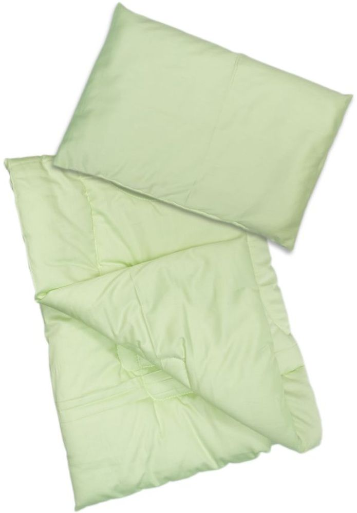 Сонный гномик Комплект в кроватку Алоэ Вера 2 предмета цвет светло-зеленый065Комплект в кроватку из одеяла и подушки Сонный гномик Алоэ Вера станет прекрасным подарком для мамы и ребенка.Размер, см: Одеяло: 110х140, Подушка: 40х60