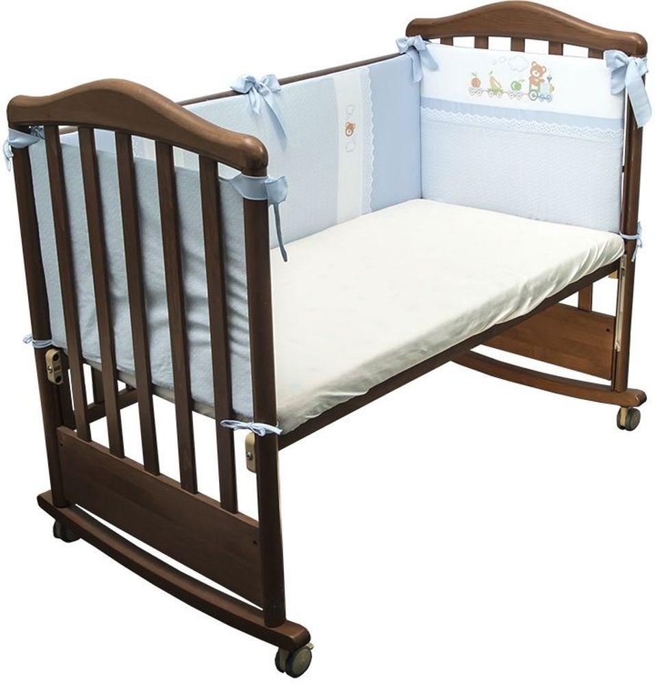 Сонный гномик Бортик для кровати Паровозик цвет голубой борт в кроватку сонный гномик считалочка бежевый бсс 0358105 4