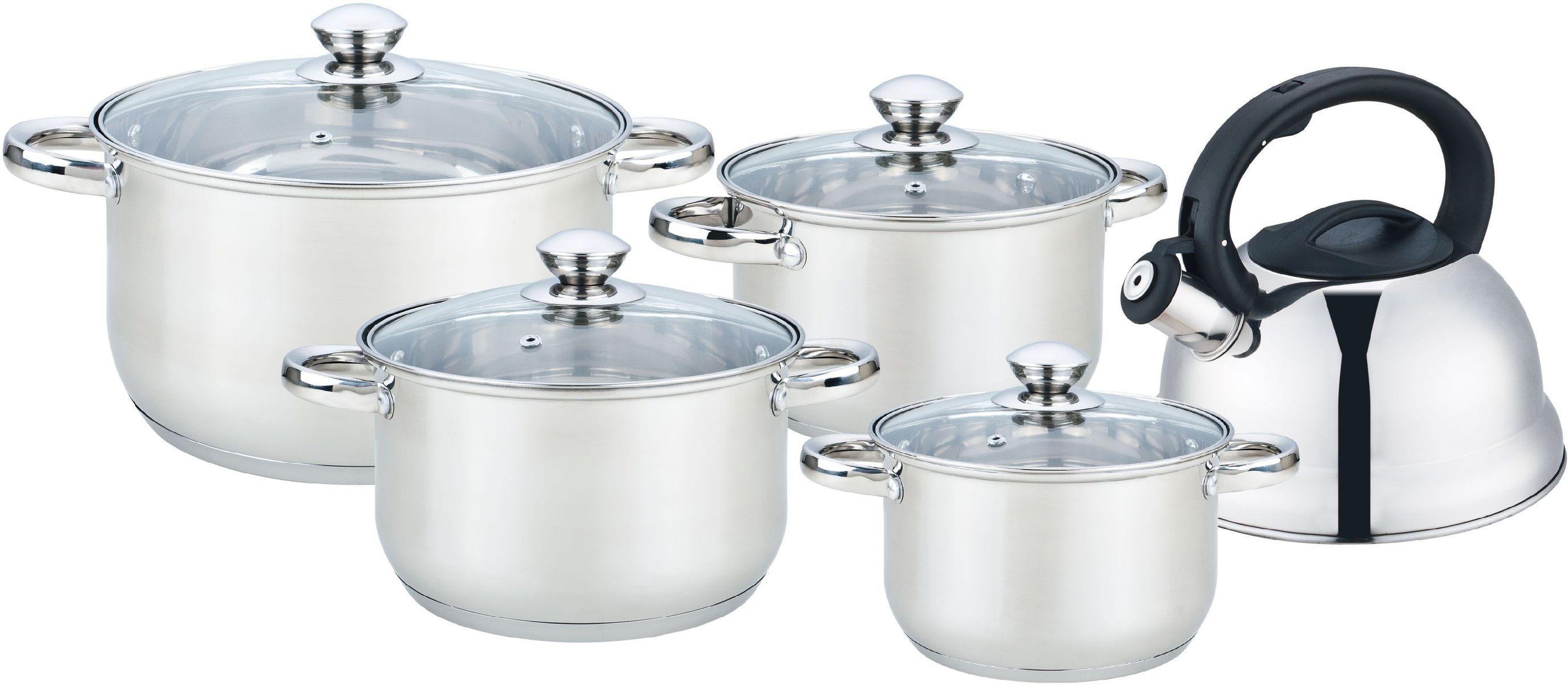 Набор посуды Bekker Jumbo, 9 предметов. BK-2595BK-2595Набор Bekker Jumbo состоит из 4 кастрюль с крышками и чайника со свистком. Изделия изготовлены из высококачественной нержавеющей стали. Посуда имеет капсулированное термическое дно - совершенно новая разработка, позволяющая приготавливать здоровую пищу. Благодаря уникальной конструкции дна, тепло, проходя через металл, равномерно распределяется по стенкам посуды. Для приготовления пищи в такой посуде требуется минимальное количество масла, тем самым уменьшается риск потери витаминов и минералов в процессе термообработки продуктов. Крышки выполнены из жаростойкого прозрачного стекла, оснащены бакелитовой ручкой, металлическим ободом и отверстием для выпуска пара. Такие крышки позволяют следить за процессом приготовления пищи без потери тепла. Они плотно прилегают к краю и сохраняют аромат блюд. Подходит для всех плит. Можно мыть в посудомоечной машине. Объем кастрюль: 2,1 л, 2,9 л, 3,9 л, 6,5 л.Внутренний диаметр кастрюль: 16 см, 18 см, 20 см, 24 см.Объем чайника: 2 л.