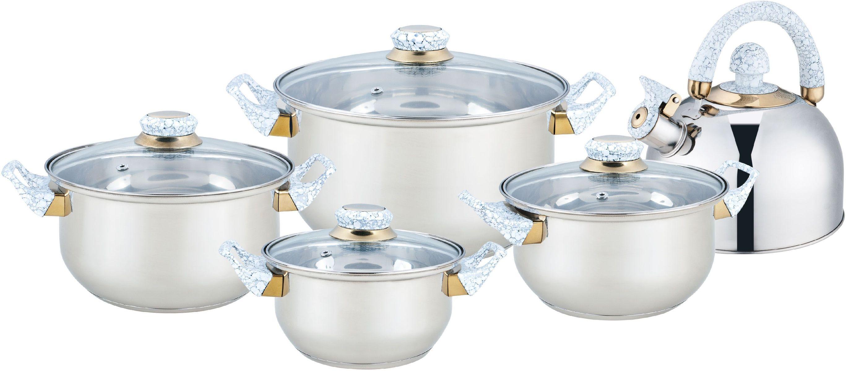 Набор посуды Bekker Classic, 9 предметовBK-4601Набор Bekker Classic состоит из 4 кастрюль с крышками и чайника со свистком. Изделия изготовлены из высококачественной нержавеющей стали. Посуда имеет капсулированное термическое дно - совершенно новая разработка, позволяющая приготавливать здоровую пищу. Благодаря уникальной конструкции дна, тепло, проходя через металл, равномерно распределяется по стенкам посуды. Для приготовления пищи в такой посуде требуется минимальное количество масла, тем самым уменьшается риск потери витаминов и минералов в процессе термообработки продуктов. Крышки выполнены из жаростойкого прозрачного стекла, оснащены бакелитовой ручкой, металлическим ободом и отверстием для выпуска пара. Такие крышки позволяют следить за процессом приготовления пищи без потери тепла. Они плотно прилегают к краю и сохраняют аромат блюд. Подходит для всех плит, кроме индукционных. Можно мыть в посудомоечной машине.Объем кастрюль: 1,6 л, 2,4 л, 2,8 л, 5,6 л.Внутренний диаметр кастрюль: 16 см, 18 см, 20 см, 24 см.Объем чайника: 2 л.