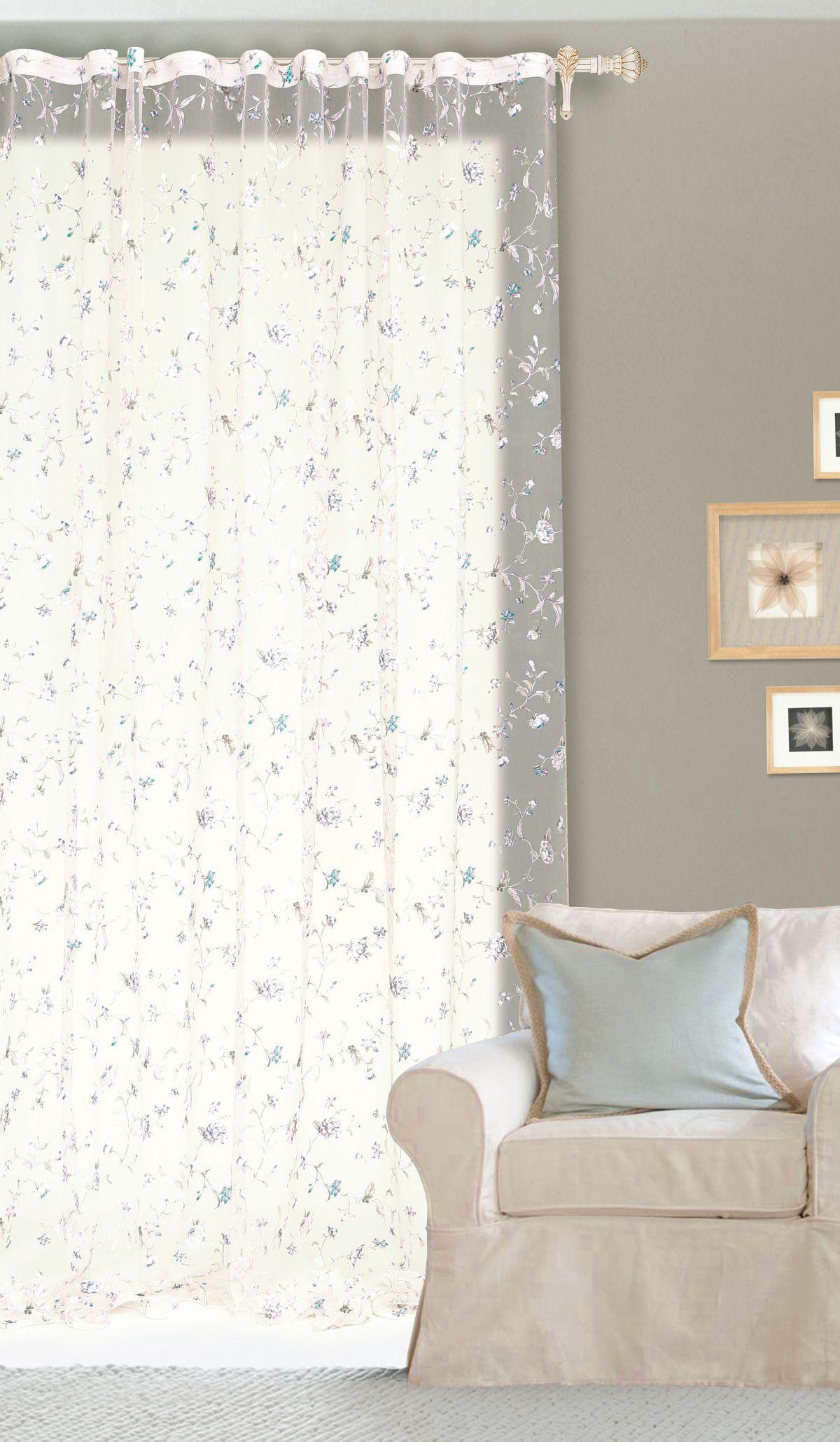 Штора готовая Garden, на ленте, цвет: белый, 300х260 см. С 10250 - W260 V5