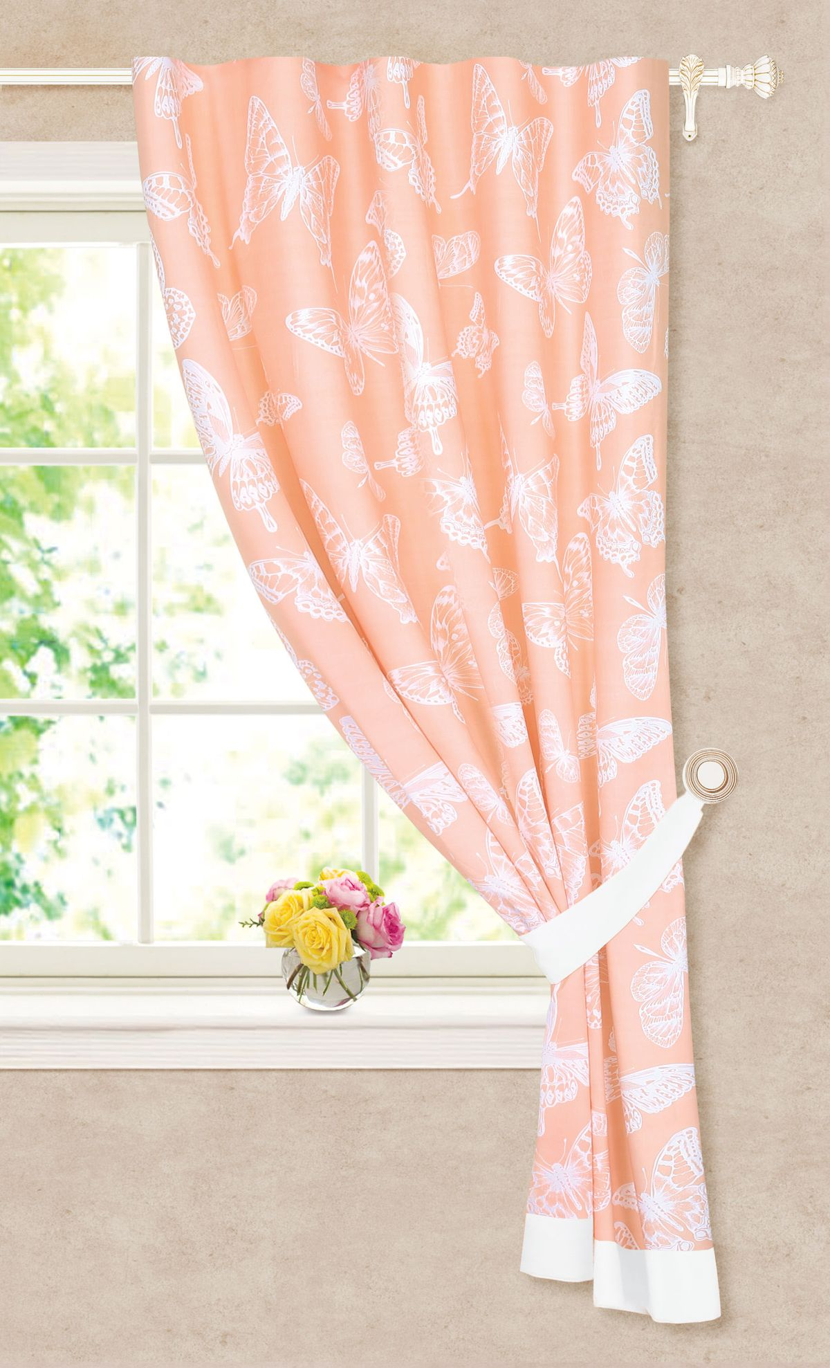 Штора готовая Garden, на ленте, c подхватом, цвет: розовый, 140х180 см. С 7302 - W2071 - W2071 V7С 7302 - W2071 - W2071 V7Изящная штора для кухни Garden выполнена из плотной ткани. Приятная текстура и цвет привлекут к себе внимание и органично впишутся в интерьер кухни. Штора крепится на карниз при помощи ленты, которая поможет красиво и равномерно задрапировать верх.