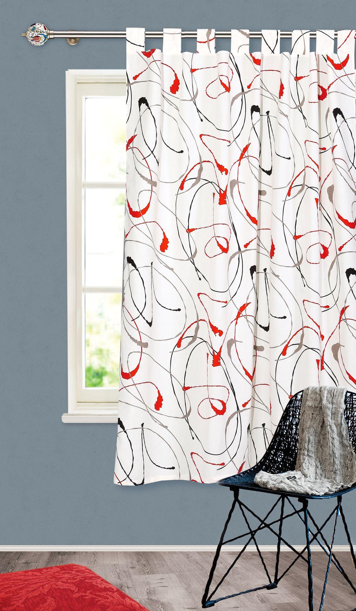 Штора готовая Garden, на петлях, цвет: белый, высота 180 см. С 4342 - W1687 140х180 V31С 4342 - W1687 140х180 V31Штора для кухни Garden выполнена из плотной ткани - репс с рисунком. Приятная текстура материала и яркая цветовая гамма привлекут к себе внимание и станут великолепным украшением кухонного окна. Штора крепится на карниз при помощи петель, которая поможет красиво и равномерно задрапировать верх.