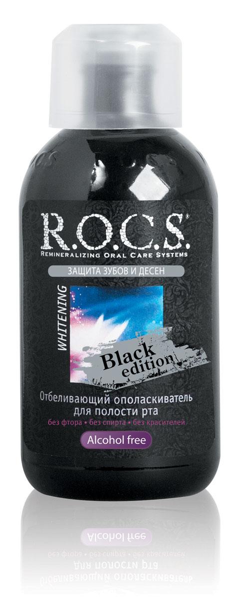 R.O.C.S. Ополаскиватель отбеливающий для полости рта Black Edition, 400мл32700324Благодаря свойствам активного кислорода отбеливает эмаль на поверхности и в глубине , эффективно борется с неприятным запахом изо рта, уменьшает воспаление и кровоточивость десен. Действие ополаскивателя направлено на подавление анаэробной микрофлоры, что позволяет устранить явления галитоза и существенно улучшить состояние здоровья десен. Клинические тесты подтвердили отсутствие риска повышения чувствительности зубов. Сочетание отбеливающей зубной пасты с использованием нового ополаскивателя R.O.C.S. Whitening Black Edition позволяет существенно (70-90%) повысить эффективность отбеливания зубов, за счёт содержания активного кислорода.