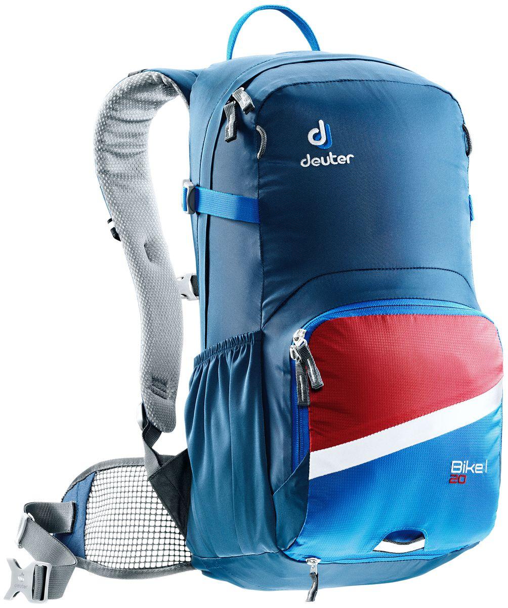 Рюкзак Deuter Bike I 20, цвет: синий, 20 л3203317_3980Deuter представляет новый велорюкзак в классическом дизайне, который выглядит как предок этого рюкзака 25 летней давности. Но при этом новый Bike I выполнен по современным технологиями и с использованием лучших материалов. Рюкзак отлично подойдет для однодневных поездок на природе или в городе.Особенности:- съемный держатель для шлема; - чехол от дождя на молнии; - удобные плечевые лямки с мягкими краями Soft-Edge; - съемный, складывающийся дождевик; - компрессионные ремни; - большой карман на молнии с органайзером и карабином для ключей и отделениями для мобильного телефона, бумажника, инструментов и т.д.; - легкодоступное отделение на молнии для смартфона или карты на задней стороне; - эластичные боковые карманы; - большие 3M отражающие полосы на переднем кармане; - светоотражающая петля для габаритного фонарика; - отделение для влажной одежды; - совместимость с питьевой системой.Вес: 880 г. Объем: 20 л. Размеры: 50 x 25 x 21 см.Материал: Duratex Bright / Ripstop-Polytex.