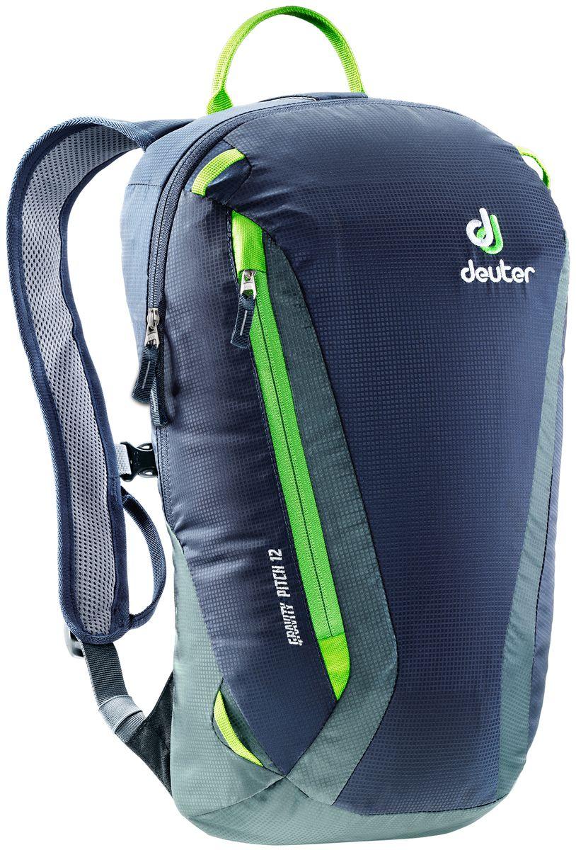 Рюкзак Deuter Gravity Pitch 12, цвет: серый, темно-синий, 12 л3362117_3400Deuter Gravity Pitch 12 - это легкий рюкзак для скалолазов. Продуманная конструкция обеспечивает свободу движения и удобство. Особенности: - конусная форма для легкой упаковки; - очень легкий и удобный благодаря подвесной системе Lite Back с U-образным каркасом из пластика DELRIN®; - изогнутые, узкие лямки с регулировкой для идеальной подгонки; - нагрудный ремень с сигнальным свистком; - просторный карман на молнии для куртки и т.д.; - петли для навески снаряжения и шлемодержателя; - две дополнительных петли на передней стороне лямок для оттяжек и т.д.; - усиленная ручка в верхней части; Материал: 100D Pocket Rip Mini.Вес: 390 г.Объем: 12 л.Размеры: 44 x 24 x 14 см.